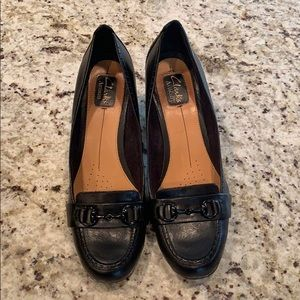 Clarks Black Loafers Artisan with Heels